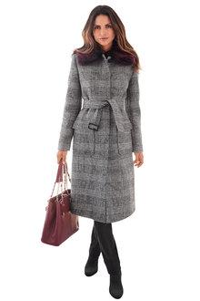 Kaleidoscope Faux Fur Checkered Coat - 257685