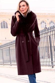 Kaleidoscope Faux Fur Trim Coat - 257688