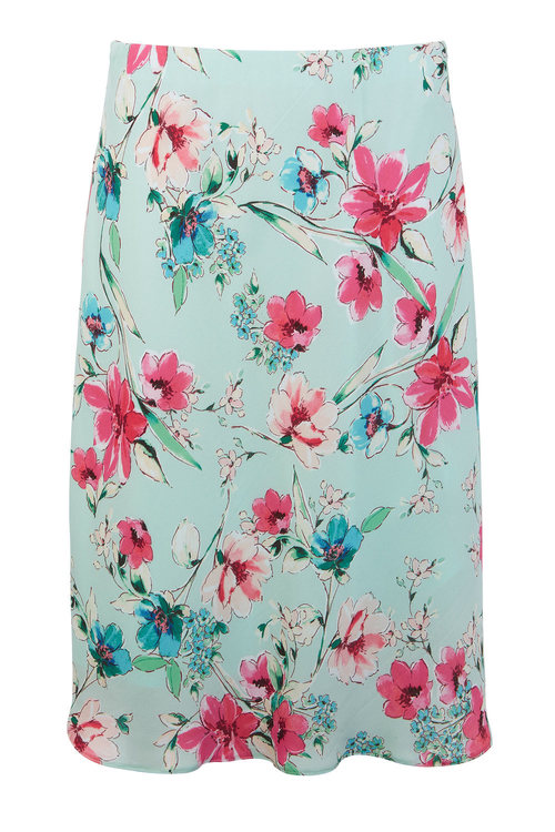 Kaleidoscope Floral Print Slip Skirt