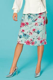 Kaleidoscope Floral Print Slip Skirt - 257766