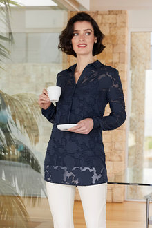 Heine Floral Chiffon Jaquard Shirt - 257937