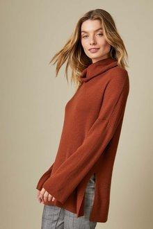 Capture Merino Ribbed Cowl Sweater - 257957