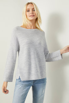 Emerge Merino Rib Boatneck Sweater - 257960