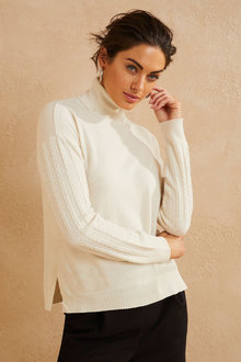 Kaleidoscope Cable Knit Sleeve Pullover - 258005