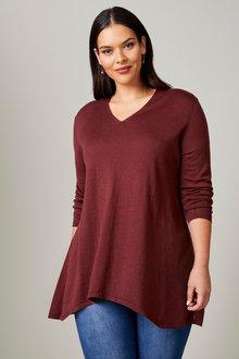 Sara Merino Angled Hem Sweater - 258017