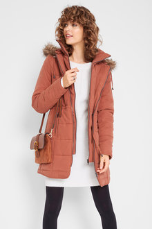 Urban Fur Trim Hooded Puffer - 258063