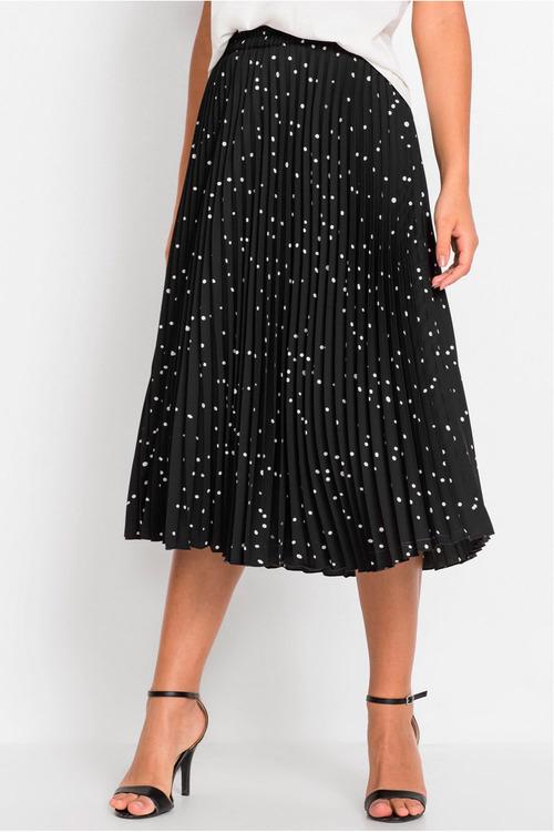 Urban Pleated Print Midi Skirt
