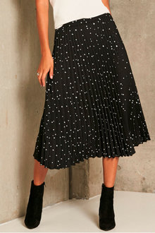 Urban Pleated Print Midi Skirt - 258067