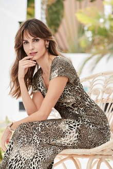 European Collection Twist Front Button Down Dress - 258090