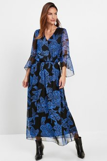 Euro Edit Volant Sleeve Maxi Dress - 258108