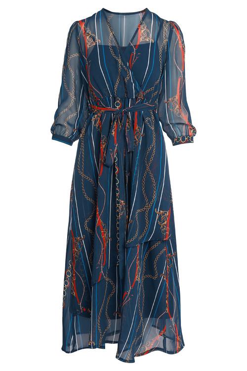 Kaleidoscope Chain Print Maxi Dress