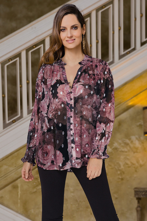 European Collection Rose Foil Print Top