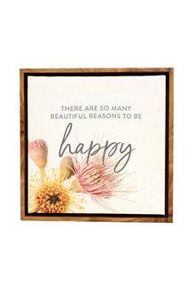 Splosh Flourish Happy Framed Canvas - 258267