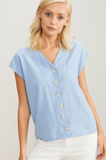 Emerge Linen Blend Button Front Shirt - 258288
