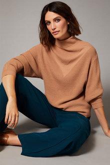 Emerge Stitch Detail Batwing Sweater - 258295