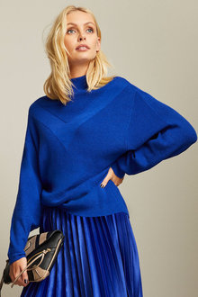 Emerge Stitch Detail Batwing Sweater - 258295
