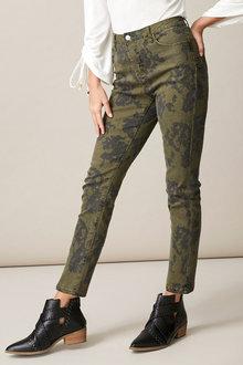Heine Khaki Floral Pants - 258308