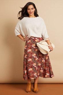 Sara Printed Midi Skirt - 258394