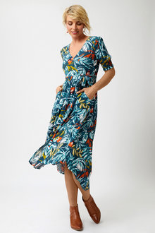 Capture Mock Wrap Dress - 258494