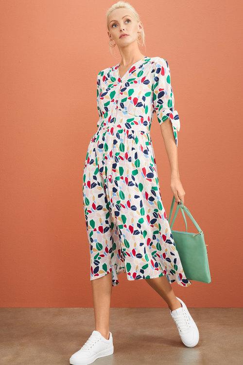 Emerge Tie Sleeve Midi Dress