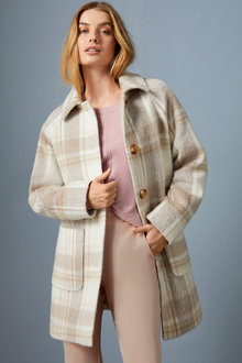 Capture Wool Blend Brushed Check Coat - 258523