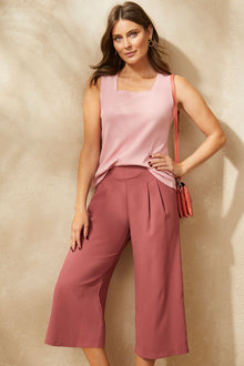 Capture Pleat Front Pull on Culotte - 258539