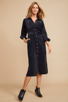 Grace Hill Cord Shirt Dress - 258565