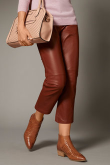 Grace Hill Leather Cropped Pant - 258567