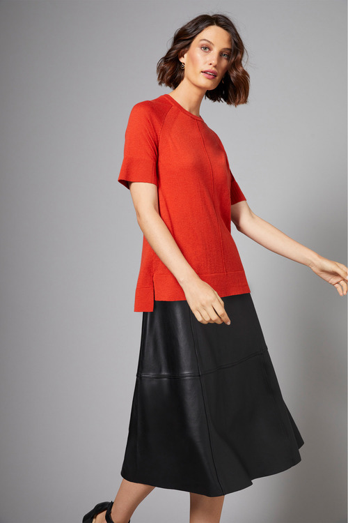 Grace Hill Leather A-Line Midi Skirt