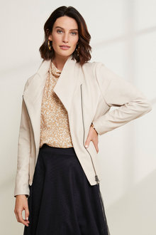 Grace Hill Leather Collarless Jacket - 258571