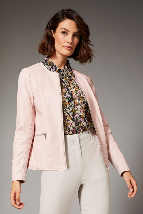 Grace Hill Leather Collarless Jacket