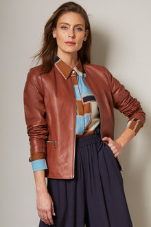 Grace Hill Leather Collarless Jacket - 258572