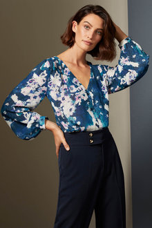 Grace Hill V Neck Chiffon Shirt - 258578