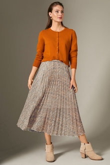 Grace Hill Printed Pleated Skirt - 258584