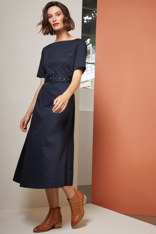 Grace Hill Belted Midi Dress