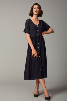 Grace Hill Gathered Waist Shirt Dress - 258593