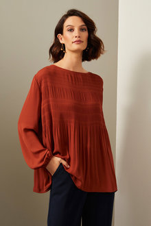 Grace Hill Pleated Blouse - 258594