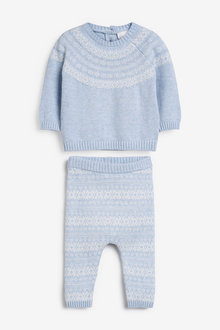Next Fairisle Pattern Two Piece Knitted Jumper And Leggings Set (0mths-2yrs) - 258647
