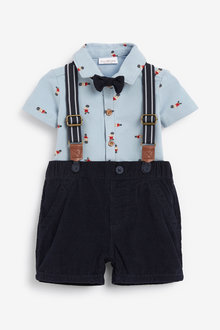Next Bear Print Shirt Body, Cord Shorts With Braces And Bow Tie (0mths-2yrs) - 258650