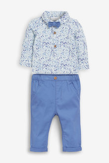Next Smart Floral Bodysuit, Chinos And Bow Tie Set (0mths-2yrs) - 258654