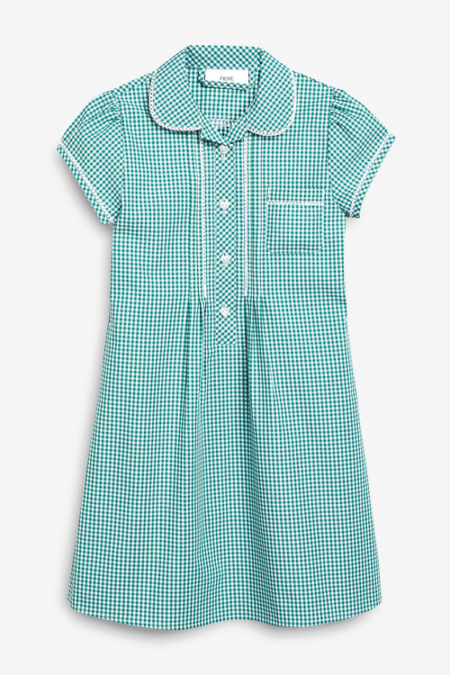 Next Button Front Lace Gingham Dress (3-14yrs)