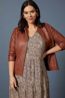 Sara Leather Dress Jacket - 258730