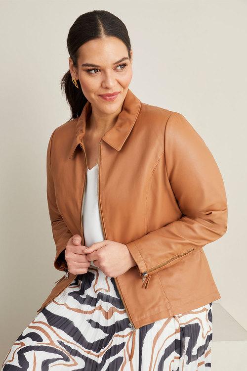 Sara Collared Leather Jacket
