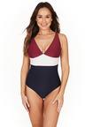 Colour Block Texture Rhubarb V Neck One Piece Swimsuit