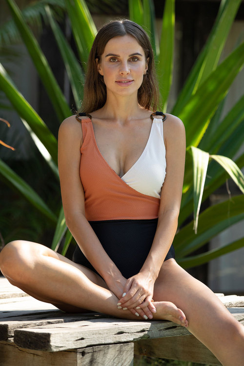 Colour Block Texture Copper Tortoise Shell Rings One Piece Swimsuit