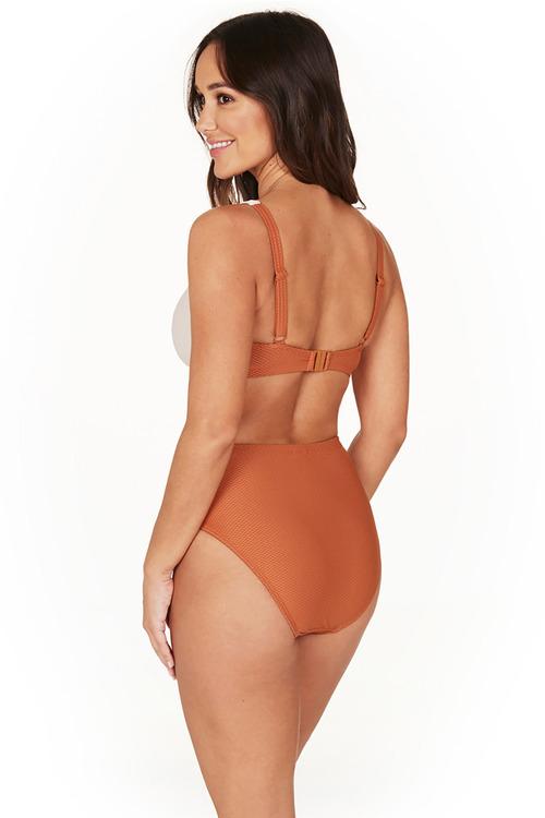 Colour Block Texture Copper Faux Knot Bikini Set Swimsuit