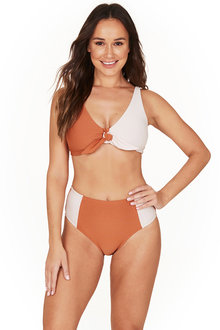 Colour Block Texture Copper Faux Knot Bikini Set Swimsuit - 258822