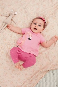 Next Flamingo T-Shirt, Leggings And Headband Set (0mths-2yrs) - 258875