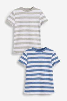 Next 2 Pack Short Sleeved Stripe Thermal Tops (2-16yrs) - 258905