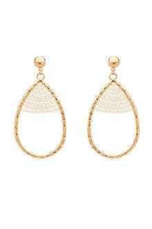 Amber Rose Teardrop Pearl Earrings - 259009